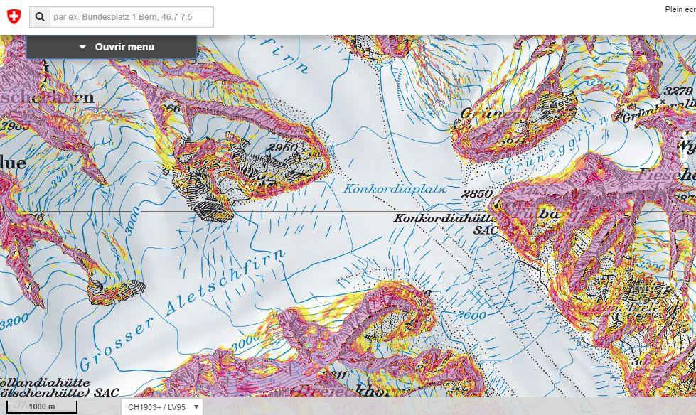 Carte suisse des pentes de plus de 30°